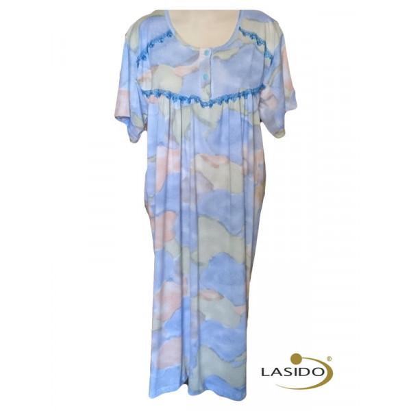 Nachthemd dames met geborduurde hals en strikje   100% katoen