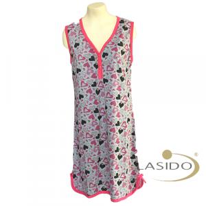 Nachthemd hartjes met knoopjes en print voor dames | 100% katoen