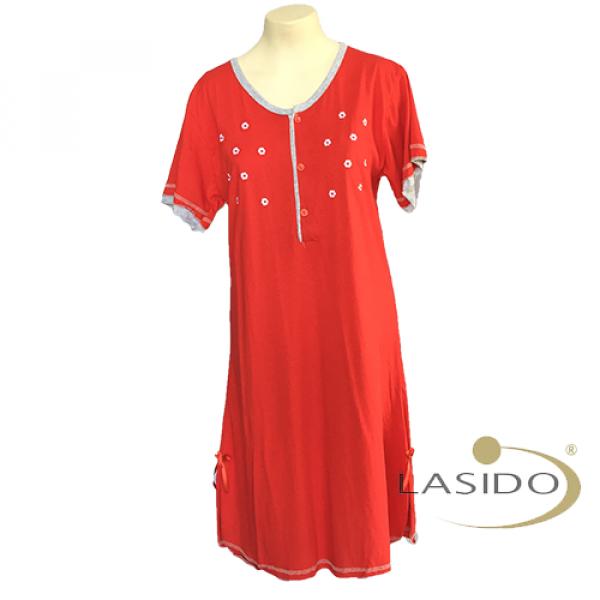 Nachthemd dames met bloemetjes en knopen | 100% katoen