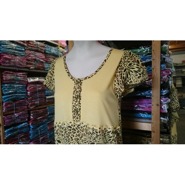 Nachthemd dames met panterprint   100% katoen