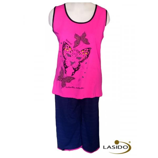 Pyjama dames top met print en short | 100% katoen