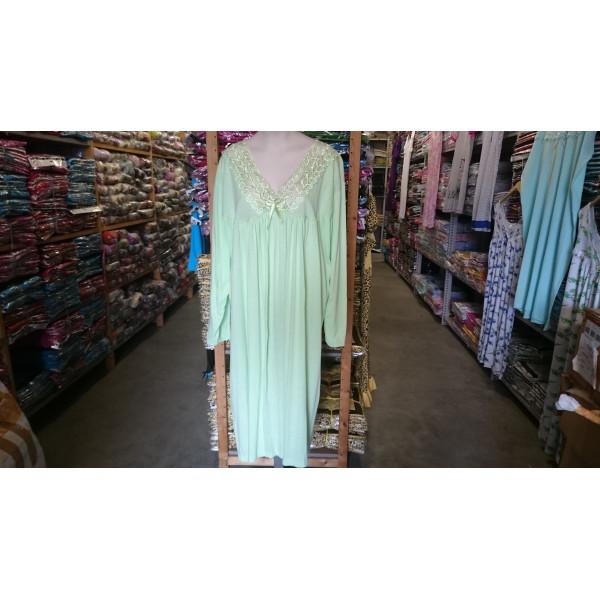 (Partijhandel) Nachthemd dames met geborduurde hals| 100% katoen