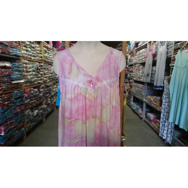 Nachthemd dames met overlappende v-hals en strikje | 100% katoen