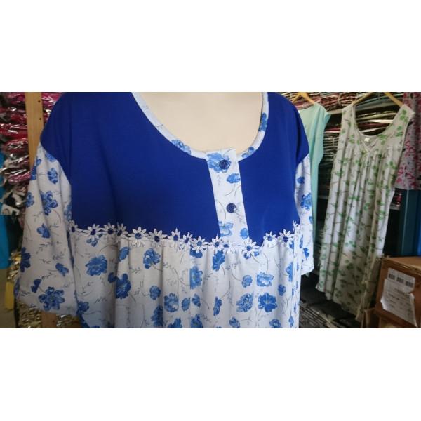 Nachthemd dames met ronde hals en knoopjes | 100% katoen
