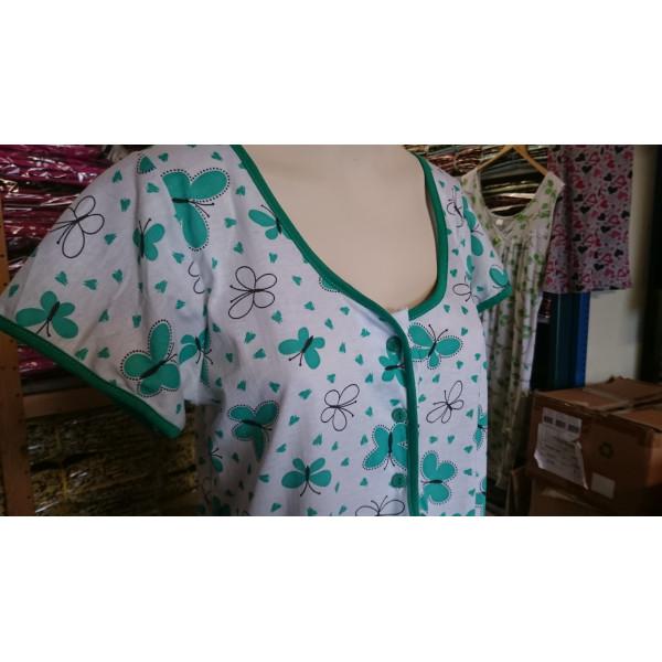 Nachthemd dames met knoopjes en motief   100% katoen