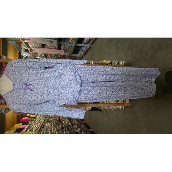 Nachthemd dames met knoopjes en bloemetjesmotief   100% katoen