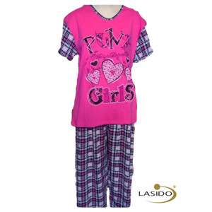 Pyjama korte mouw dames met print en broek  | 100% katoen