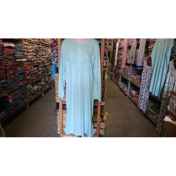 (Partijhandel) Nachthemd dames met knoopjes en bloemetjesprint | 100% katoen