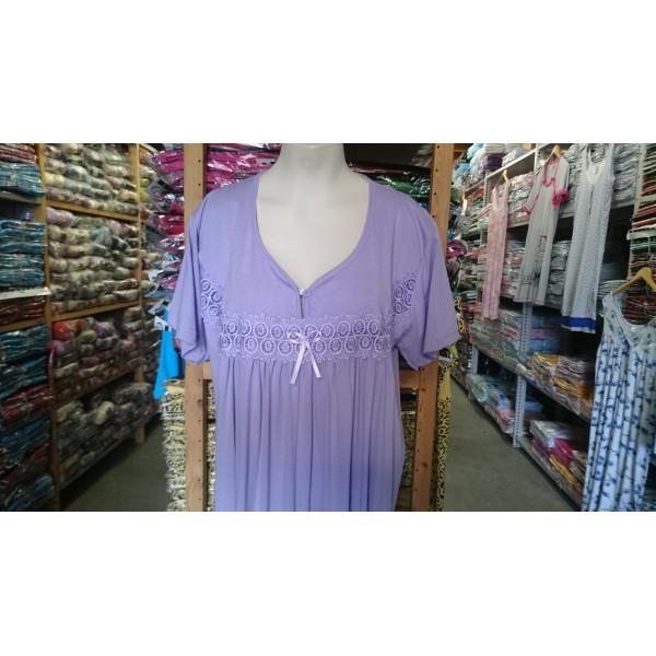 (Partijhandel) Nachthemd dames met ronde hals en knoopje | 100% katoen