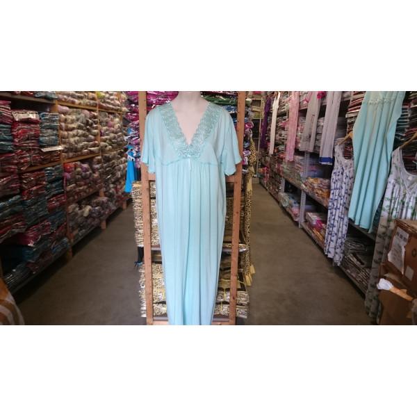 (Partijhandel) Nachthemd dames met geborduurde hals en korte mouwen | 100% katoen