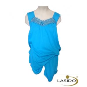 Pyjama dames met geborduurde hals en korte broek | 100% katoen