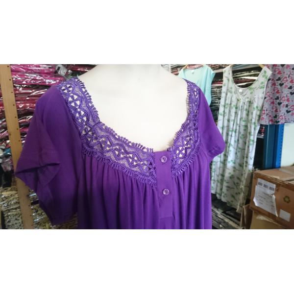 Nachthemd dames met geborduurde hals en knoopjes | 100% katoen