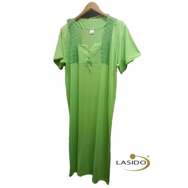 Nachthemd dames met vierkante hals en strikje | 100% katoen